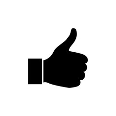 Hand Thumb Up icon flat. Illustration isolated on white background. Vector grey sign symbol