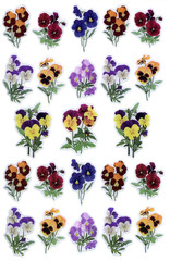 An illustration of colorful flowers as a relief sticker that can be used for wallpaper or background