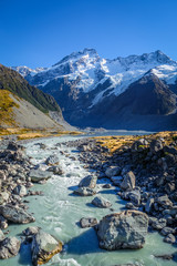 Poster Nieuw Zeeland Glacial lake in Hooker Valley Track, Mount Cook, New Zealand