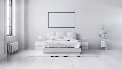 beautiful white  bedroom interior with a large bed, a horizontal poster hanging above it and a large window. 3d illustration