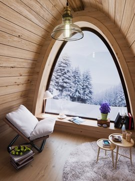 Cozy small room on cold winter night in the mountains, evening interior of chalet with arched window 3D illustration
