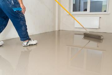 Fill screed floor repair and furnish. Repair work