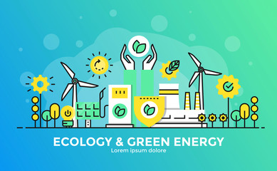Flat Line Modern Concept Illustration - Ecology and Green Energy