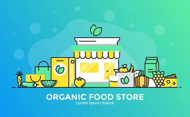 Flat Line Modern Concept Illustration - Organic Food