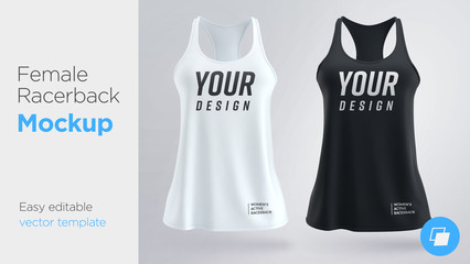 Women's white and black sleeveless tank top. Female active racerback mockup Fotomurales