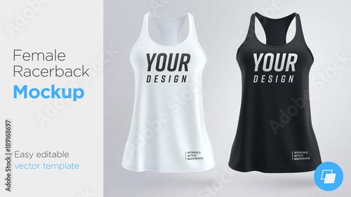 06d83dadb420f Women s white and black sleeveless tank top. Female active racerback mockup