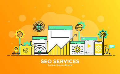 Flat Line Modern Concept Illustration - SEO Services