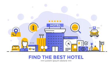 Flat Line Modern Concept Illustration - Hotel