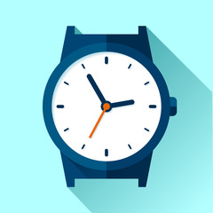 Wrist Watch icon in flat style. Clock on blue background. Business timer. Vector design element for you project