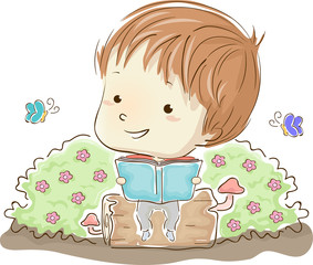 Kid Boy Book Bushes Flowers Illustration