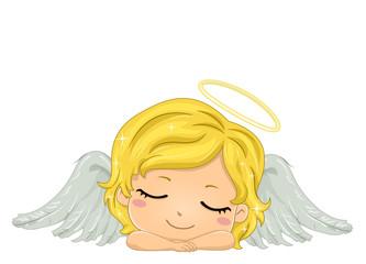 Kid Girl Angel Sleeping Illustration