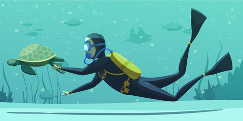 Underwater Diving Sport Cartoon Poster