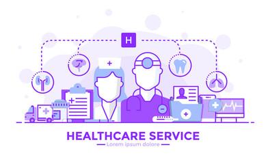 Flat Line Modern Concept Illustration - Healthcare service