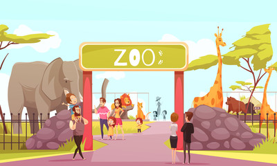 Zoo Entrance Gate Cartoon Illustration