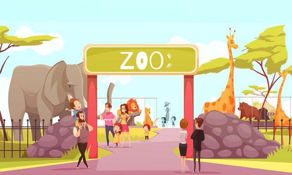 Zoo Entrance Gate Cartoon Illustration