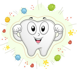 Tooth Mascot Shield Bacteria Cavities Illustration