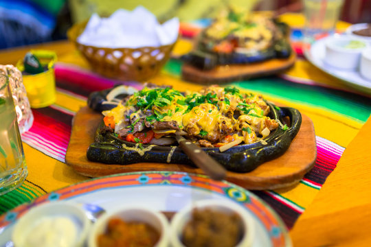 Steamy hot mexican beef and chicken fajitas