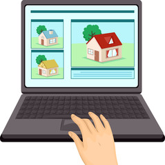 Hand Online Real Estate Laptop Illustration