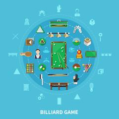 Fototapete - Billiards Round Composition