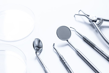 dental tools on white background close up