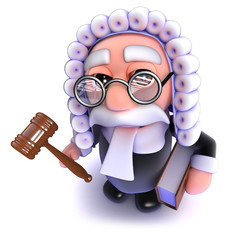3d Funny cartoon judge holding a gavel and law book