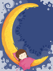 Kid Girl Sleep Moon Background Illustration