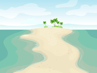 Body Of Land Sandbar Illustration
