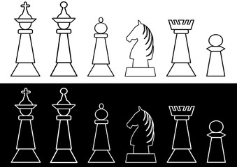 Complete set of black and white chess pieces, king and queen, rook, bishop, knight, pawn, outline design