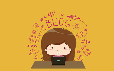 Kid Girl Creative Writing Blog Illustration