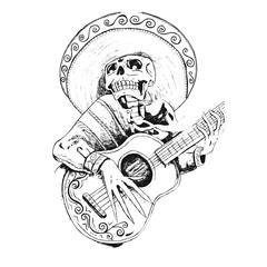 mexican day of the dead skull playing guitar