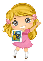 Kid Girl Story Telling Picture Illustration