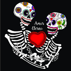 Day of the dead Mexican Amor eterno