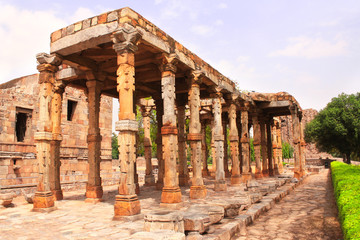 Ancient columns, Qutub Minar complex, New Delhi, India