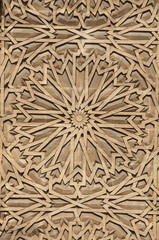 Detail of floral carving ornament in Hassan II Mosque, Casablanca, Morocco