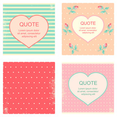 Collection of square Valentine backgrounds in retro style
