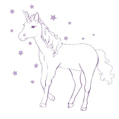 Unicorn vector icon isolated on white. Head portrait horse sticker, patch badge. Cute magic cartoon fantasy cute animal. Rainbow hair. Dream symbol. Design for children