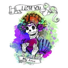 Mexican Day of the Dead sugar skull Love calavera