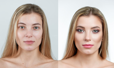Comparison photo of a beautiful blonde girl with long hair without and with makeup. Photo made on white background in a professional photo studio.