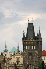Towers of the old town in Prague,view from the Charles bridge