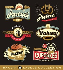 Set of retro bakery shop design elements