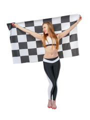 Woman is holding a waving race checkerd flag.