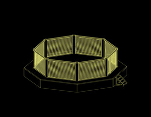 Octagon fight cage. Isolated on black background. Vector outline illustration.