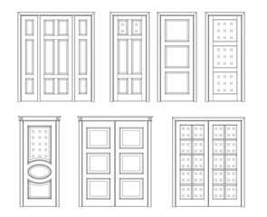 Collection interior doors, Technical Drawing. Classic interior doors - simple sketch for your design. vector illustration. icon door.