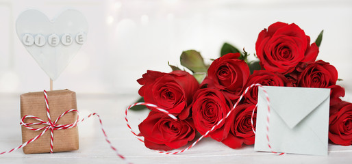 Bouquet of red roses with a message of love