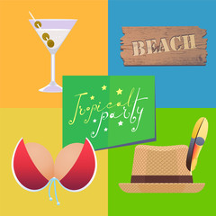 Poster for beach party vector illustration