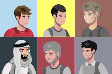Set of different young men portraits