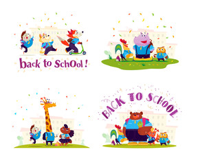 Vector flat collection of happy animal student standing at school building illustrations. Back to school pupil group isolated on white background. Cartoon style, lettering. Good for banner design.