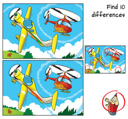A small airplane boy and a helicopter girl. Find 10 differences. Educational game for children. Cartoon vector illustration