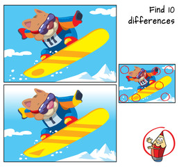 Winter sport. Snowboarder cat jumping. Find 10 differences. Educational game for children. Cartoon vector illustration