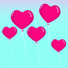 Heart balloon fly in the sky. Gift for Valentine's day celebration and element for postcard vector illustration